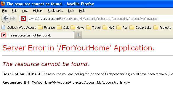 Verizon login error