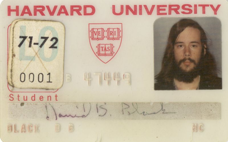 1971 09 Harvard student ID card