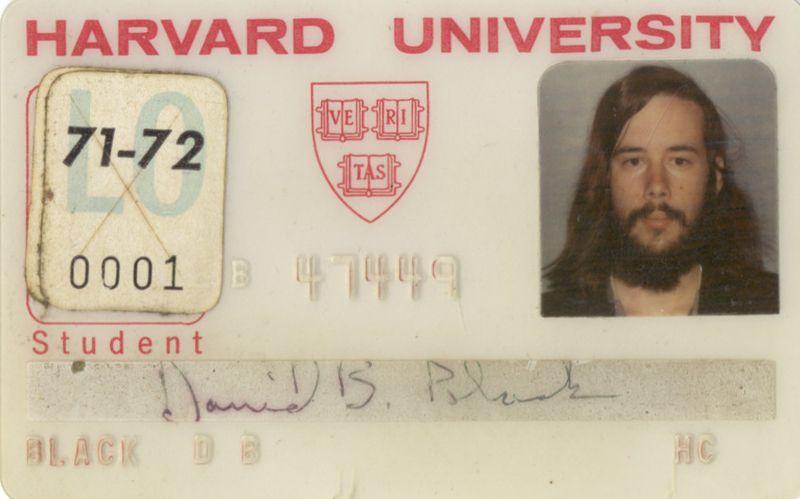 1971 09 Harvard student ID card