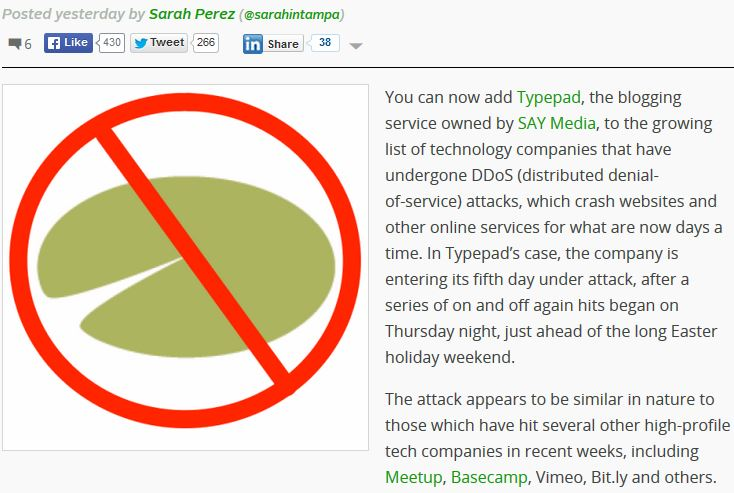Techcrunch typepad ddos