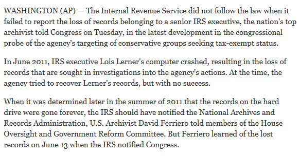 IRS Head Says No Laws Broken In Loss Of Emails 2015-09-29 18-25-43