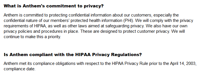 Anthem privacy