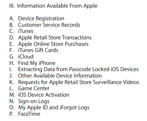 Information from Apple