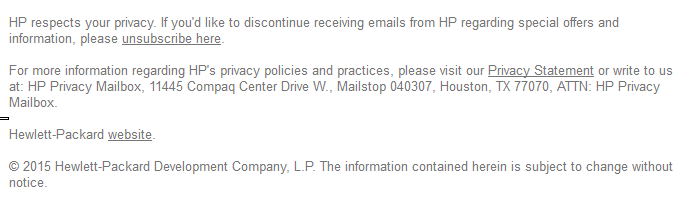 HP spam