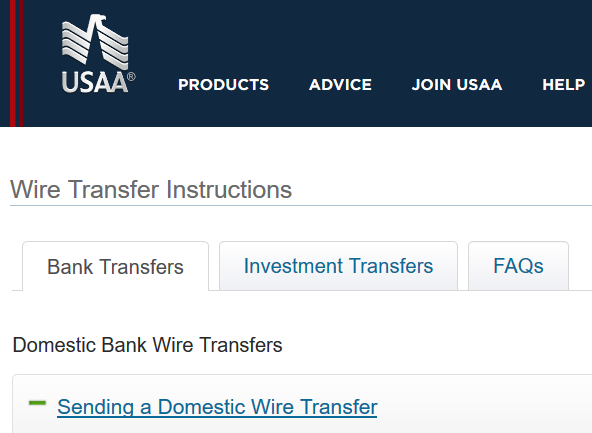 USAA wire